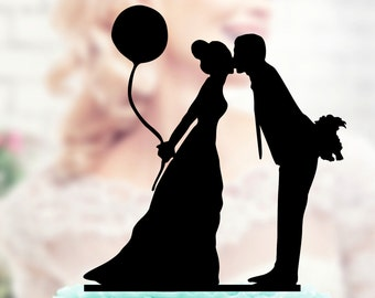Wedding cake topper , Silhouette groom and bride , acrilic case topper  , cake topper wedding , initials cake topper