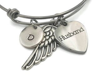 In Memory of Husband Bereavement Gift, Loss of Husband, Memorial Bracelet, Condolence Gift, Remembrance Bracelet, Personalized Angel Wing