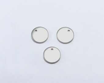 """30pcs 8mm (5/16"""") Stamping Blanks, Round Tags, Stainless Steel, High Quality, Anti-Tarnish, Anti-Rust, Strong and Long Lasting! #SD-S8278"""
