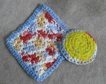 Crochet Cotton Wash Cloth & Scrub Set, mix of lite blue orange yellow white