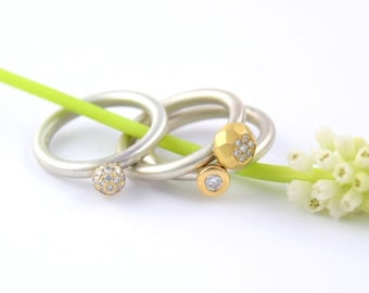 Diamond Ball, engagement ring, diamond ring, Valentine's Day gift, 18kt gold, silver ring, stack ring, rings set gold, ringing set,
