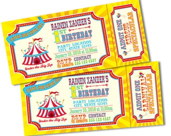Traditional Ticket Style Carnival or Circus Invitations