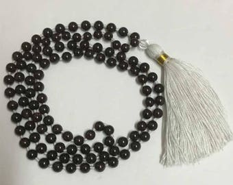 Yoga Meditation Mantra Japa Prayer Garnet  108 +1 knotted  Beads Mala with Mala Bag ...