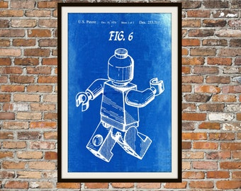 Lego Patent - Blueprint Art of a Lego Figure Man Person No.7 Technical Drawings Engineering Drawings Patent Blue Print Art Item 0080
