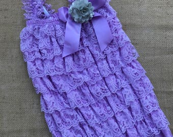 Lavender Lace Romper - Lace Romper - Petti lace romper - Newborn Romper - baby Romper - Ruffle romper - 1st Birthday Outfit - Baby Girl