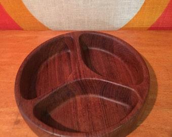 Dansk Hors d'Oeuvre Tray, Divided Bowl, Designed by Jens Quistgaard, Dansk IHQ, Teak Serving Bowl, Teak Hors d'Oeuvre Bowl, Mid Century Bowl