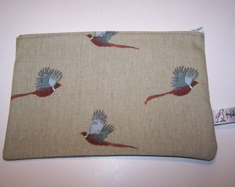 Sophie Allport pheasant print washbag, pheasant, pencil case, Valentines Day, birthday, gift for her. Nature lovers gift, Christmas gift
