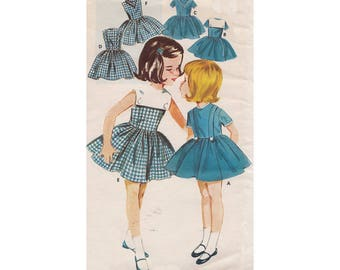 Little Girls Flared Bouffant Dress Butterick 2553 Childrens Size 4 Detachable Collar/Cowboy Scarf Uncut Vintage 1963 Sewing Pattern