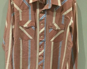 Vintage Wrangler snap button long sleeve western shirt
