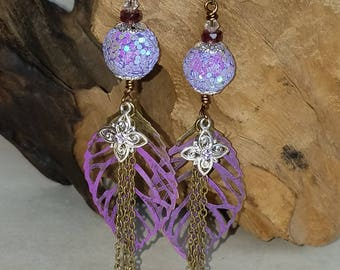 Bronze and lavender leaf earrings
