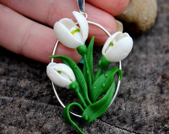Mother's gift, pretty silver 925 pendant, lovely snowdrop flowers jewelry