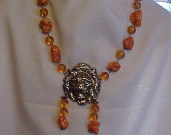 AFRICAN SAFARI NECKLACE~Ethnic~Tribal~Statement Necklace~Bold Necklace~Genuine Howlite Beads/Nuggets~Large Male Lion's Face~Unisex