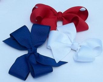 Three Basic Hair Bows n Red White and Blue
