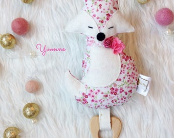 Fox plush with teething ring - made to order