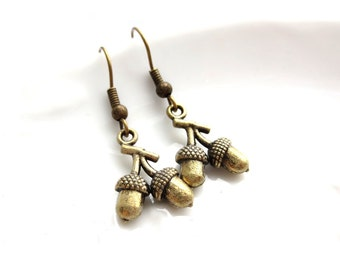 SALE - Acorns - Antique Brass Earrings
