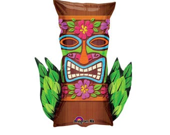 "30"" Tiki Balloon - Luau Balloons - Luau Party Decorations - Hula Girl - Hawaii Party - Tropical Party - Aloha Bachelorette - Summer Party"