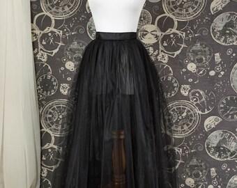 Black Tulle Over Skirt - Adult Full Length Tutu, Wedding Skirt Overlay with Ribbon Waist - Custom Made to Your Measurements