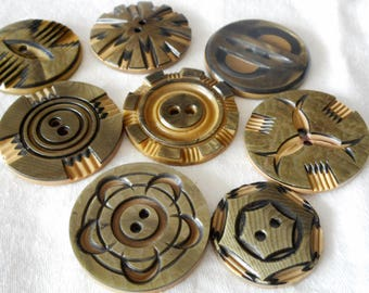 Lot of 8 VINTAGE Layer Carved Celluloid Sew Thru BUTTONS