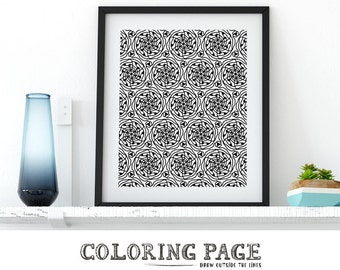 Adult Coloring Pages Instant Download DIY Wall Art Coloring Page Zentangle Doodle Zen Coloring Anti Stress ArtTherapy Pattern Printable Art