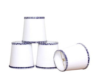 Linen Sconce Shades - Blue Hmong - Chandelier Shades - Coastal Cottage - Clip On Lampshade