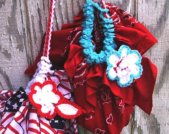 Fun Summer CROCHET Pattern  - FAST and EASY summer Bandana Bag project with flower - Instant Download