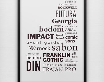 Fonts typography art print poster, black & white wall decor