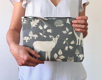 Large clutch bag, woven bag, fox clutch bag, animal clutch bag, wood clutch bag, blue clutch bag, cotton clutch bag