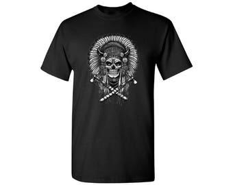 Indian Headdress Skull Shirts for Men  Indian Skull Tshirts T Shirts Tees Day of Dead Indian Chief Skull