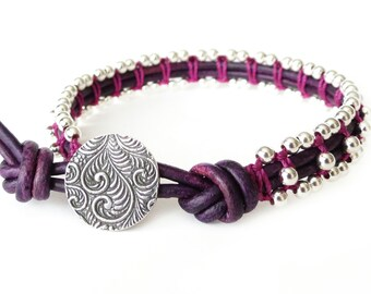 Purple leather wrap bracelet with silver macrame, special 21st birthday gift for girls, sterling silver button with swirling vine
