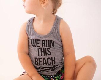 Toddler tee. Kid shirt. Funny tee. We Run this Beach Tank