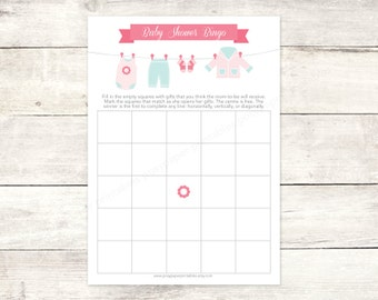 baby shower bingo game card printable DIY hanging clothes line pink aqua cute baby girl clothes digital shower games - INSTANT DOWNLOAD