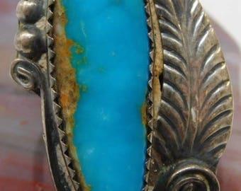Vintage Hopi/ Caroline Tawangyaouma Signed Turquoise Ring