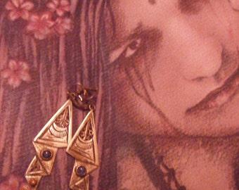 old handmade Silver ,925,sterling Earrings,blue Lapis Lazoui,art deco design ,2.3inch