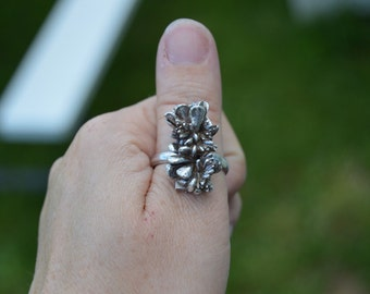 stories of the green and growing - large sterling silver succulent, botanical, cast garden ring