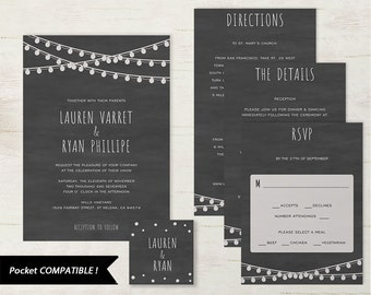 Pocket Wedding Invitation Set, Printable Wedding Invitation Template, DIY Wedding Invite, Instant Download, Edison, Chalkboard #SPP006wip