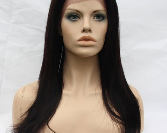 Natural Black Brown 18 inches Layered Straight 100% Pure Remy Hair 7*4  LaceFront Closure Wig-Sanna