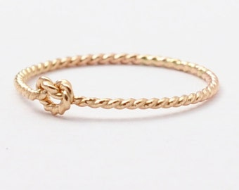 Love Knot Ring: Solid 14K Gold Twist, Promise Rings