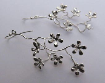 flower earrings- silver