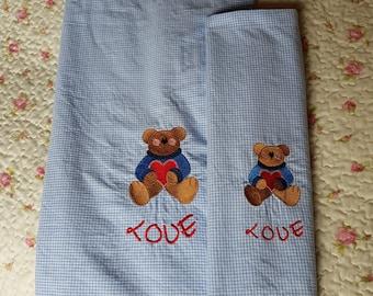 Baby blanket with teddy bear,kindergarten bag light blue blanket , baby set,cotton and chenille