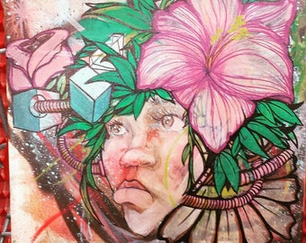 Polynesian Cyberpunk Girl Painting