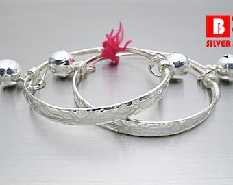 Size L, 925 Sterling Silver baby Anklet, Flower Bell Baby Anklet Bangle (Code : N493)