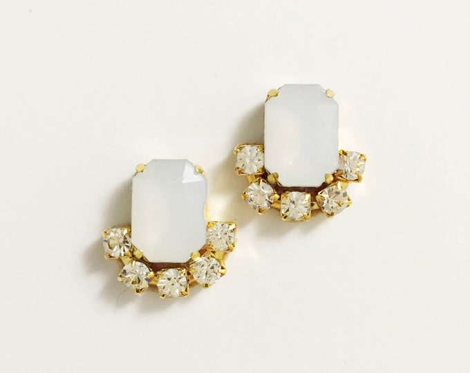 Opaque White Stud Earrings