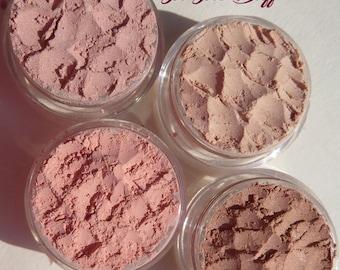 4 Piece Beauty Set Vegan Mineral Eyeshadow Makeup Gift Set | Loose Pigments | Three Brown Eye Shadows Plus Pale Peachy Color