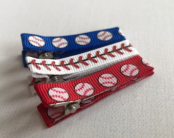 Baseball hair clips-clippies-baby-infant-toddler-hair accessories, baby gift