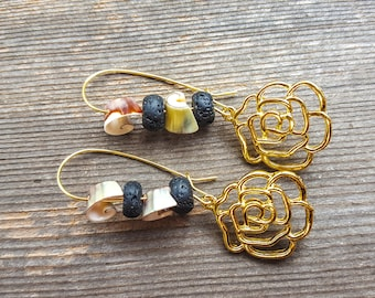 Gold Rose Diffuser Earrings