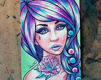 ORIGINAL Painting - Rose Tattooed Pin Up Girl With Multicolored Hair Portrait 5x7 inches
