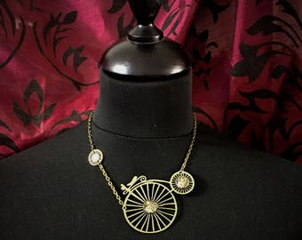 Steampunk necklace large bi to single or double wheels