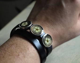 Real Cherry Blossom double wrist bracelet leather, Adjustable bracelet,Real flower bracelet, gift idea for women, Botanical bracelet,gift