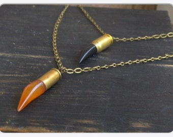 NIGHT of THE WATCHMAN. Halloween Orange & Black Agate Talons and Bullets double necklace ensemblage. Unisex