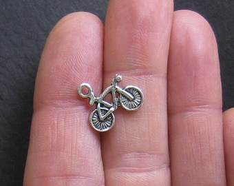 Bulk 25 Bicycle Charms Antique Silver Tone - SC049